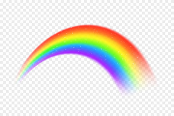 Realistic rainbow with abstract particles and glitter on transparent background. Colorful rainbow in arc shape, full color spectrum