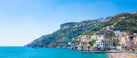 Blue sea and beach in Minori, attractive seaside town at Amalfi Coast, in Campania region of Italy.