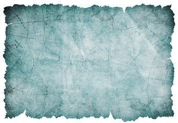 Wall Mural - old blue torn blank treasure map isolated