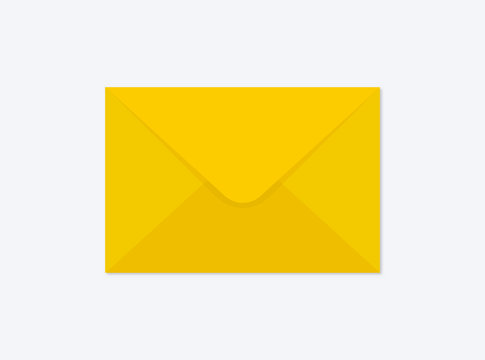 Vector illustration of a yellow closed envelope isolated on a background. Mail icon. Realistic mockup.
