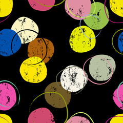 seamless background pattern, with circles/dots, strokes and splashes, grungy, on black