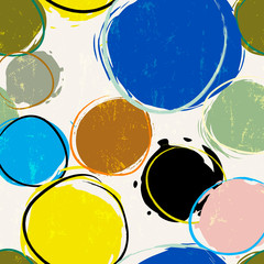seamless background pattern, with circles/dots, strokes and splashes, grungy