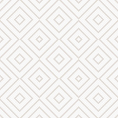 Vector geometric seamless pattern with squares, diamonds, rhombuses, grid, lattice. Abstract white and beige graphic ornament. Modern linear background. Subtle elegant texture. Delicate repeat design
