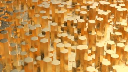 Fotobehang - Abstract 3D tech background gold metal