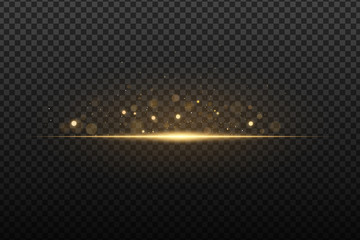 Wall Mural - Flash light effect with bokeh glare. Gold glitter on a dark transparent background. Vector illusion