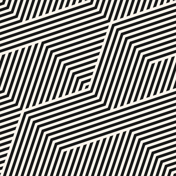 Geometric lines seamless pattern. Simple vector texture with diagonal stripes, lines, chevron, zigzag. Abstract black and white graphic background. Modern sport style linear ornament. Repeat design
