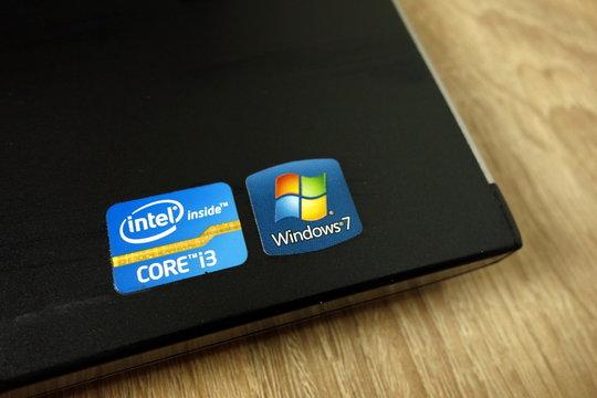 KONSKIE, POLAND - June 21, 2019: Intel Core i3 and Windows 7 sticker on laptop