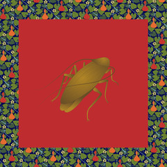 Cockroach color illustration in vintage square frame with lagenaria. Art Nouveau style. Vector.