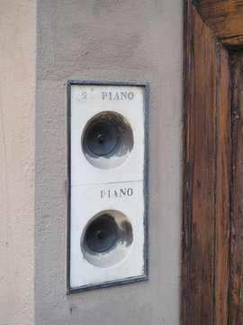 Two old house bells, names are not engraved on the marble but only first and second floors.