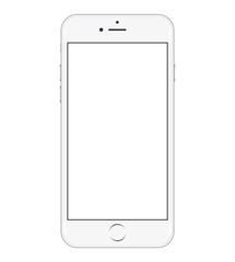 Isolated Iphone 6 realistic with blank screen. Stock vector illustration.