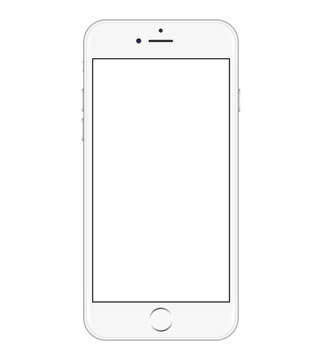 iPhone 6  is a smartphone developed by Apple. For Editorial. White color. Stock vector illustration. Isolated on white background.