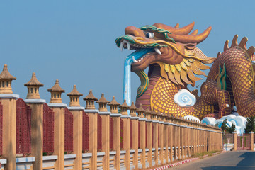 Wall Mural - Big dragon statue Chinese style in Suphanburi province in Thailand.