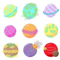A Collection of Cartoon Illustration Planets As Vectors Some Exploding