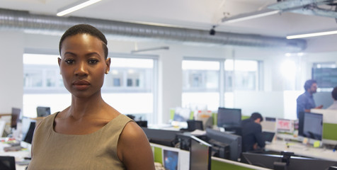 Portrait confident determined businesswoman in office