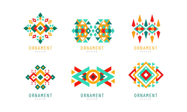 Ornament Design Logo Templates Collection, Colorful Abstract Geometrical Labels Vector Illustration