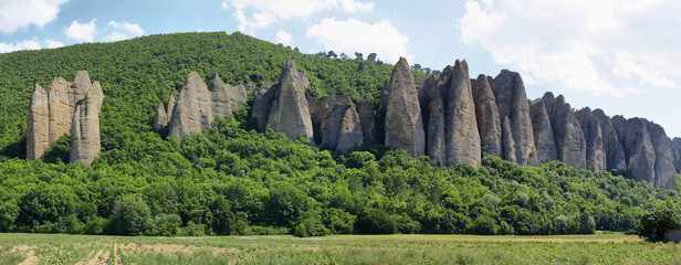 Unusual Rock Formations known as Penitents, Les Mees, France