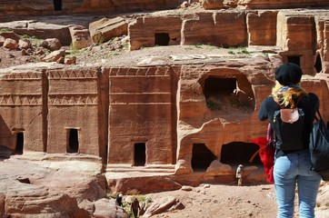 Petra, Jordan, women tourist taking pictures