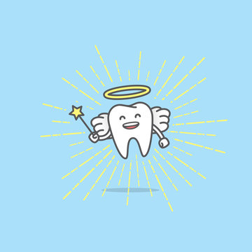 Dental cartoon of Angel tooth smiling and holding a scepter on light radius line illustration cartoon character vector design on blue background.  Dental care concept.