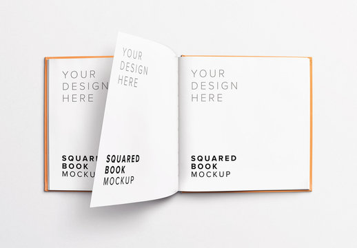 Open Square Book Mockup