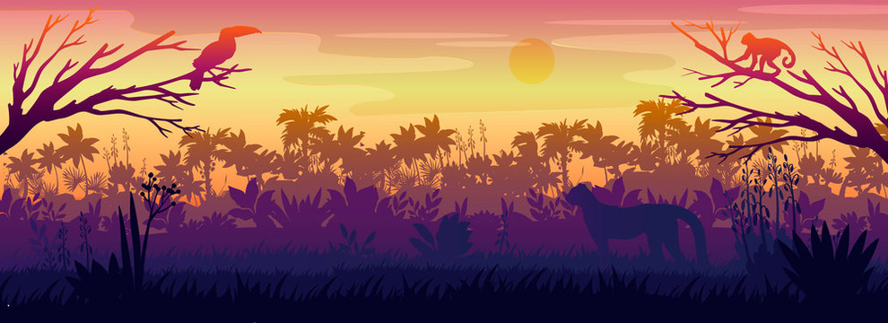 Amazonian landscape with palm trees silhouette, toucan, monkey, panther. Rainforest horizontal panorama with hunting predator. Tropical backlit banner with sunset for backgrounds, advertisements