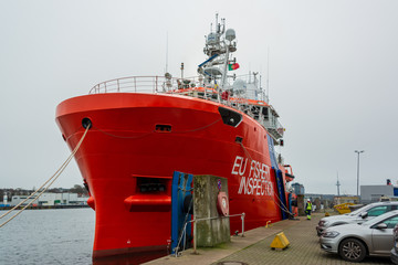 Auslaufen des Fischereischutzschiffes Lundy Sentinel der EU in Kiel. Die Fahrt geht durch den Nord-Ostsee-Canal in die Nordsee uns weiter in den Atlantik
