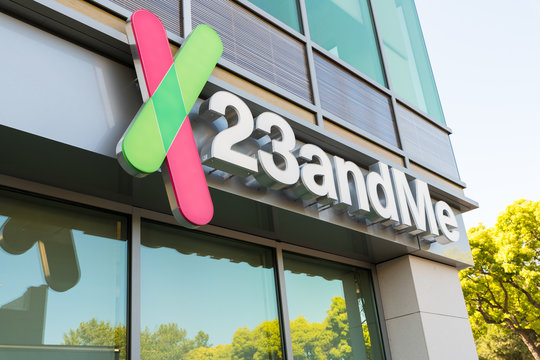 Mountain View, California - April 26, 2018: A logo outside of the headquarters of 23andMe. The company is an American personal genomics and biotechnology company based in Mountain View, California
