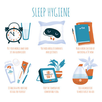 Sleep hygiene tips - alarm clock, glass of water, sleeping mask and ear plugs, book, evening toiletry, air humidifier and digital thermometer, spot vector illustration isolated on white background