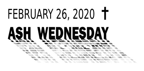 2020 ash wednesday date black and white icon