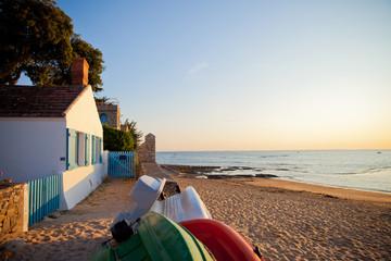 Noirmoutier, plage, paysage, océan, mer, sable, maison, location, vent Fototapete
