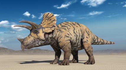 Triceratops, dinosaur reptile standing, prehistoric Jurassic animal in deserted nature environment, 3D illustration Wall mural