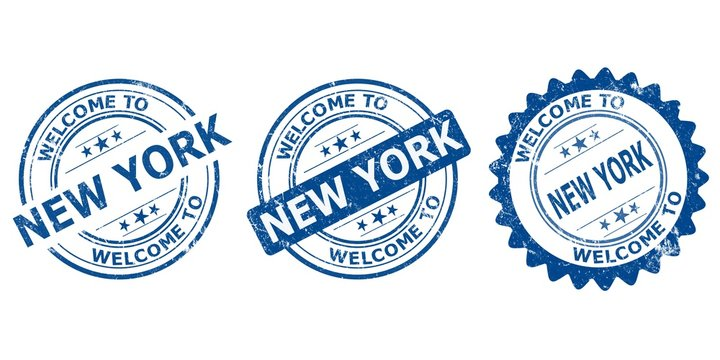 welcome to New York blue old stamp sale