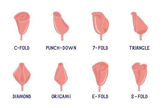 Set of hand drawn illustrations of menstrual cup folding methods. How to fold menstrual cup. Zero waste concept. Vector flat cartoon illustration