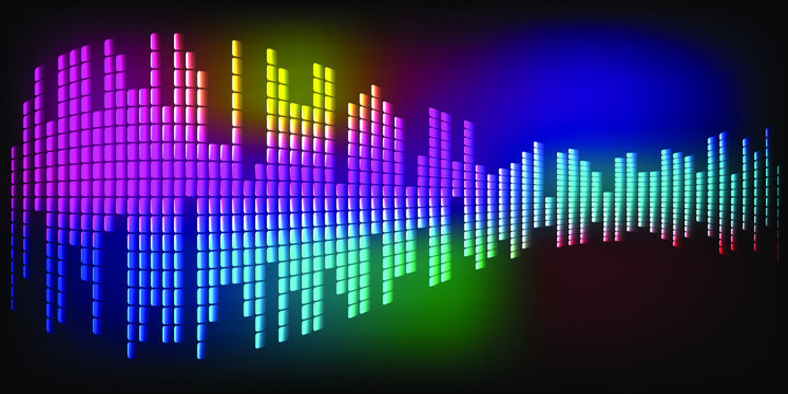 Multi-colored sound waves oscillating dark  E