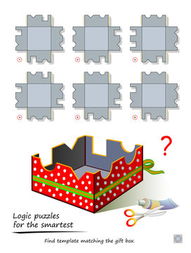 Logic puzzle game for smartest. Find template matching the gift box. Printable page for kids brain teaser book. Developing children and adults spatial thinking skills. IQ training test. Vector image.
