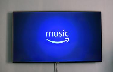 Amazon music logo on Samsung TV. Piazza Brembana, Italy, 12 january 2020.