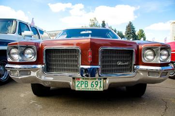 Kyiv, Ukraine - September 30, 2018: Oldsmobile Delta 88 1971. OldCarLand festival.