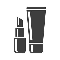 Cosmetics icon. Minimalistic black and white image of lipstick and a tube. Isolated vector on a white background