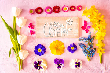 Rustic Wooden Sign With German Calligraphy Frohe Ostern Means Happy Easter. Flat Lay With Spring Flower. Wooden Pink Background