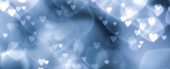 Fototapete - Abstract blue bokeh background banner with hearts - birthday, father's day, valentine's day panorama