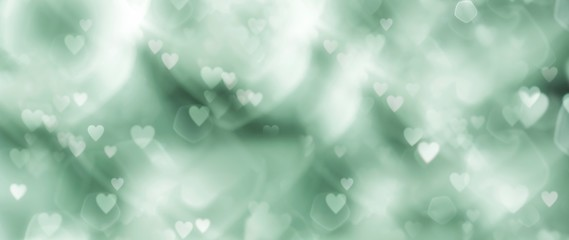 Fototapete - Abstract bokeh background banner with hearts