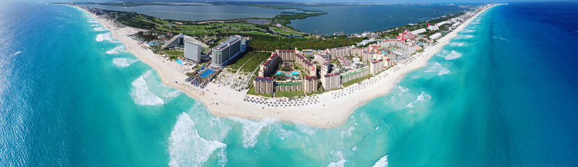 Cancun beach and hotel zone panorama aerial view, Cancun, Quintana Roo QR, Mexico.