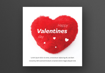 Valentine's Day Card Layout with Red Fluffy Heart Image