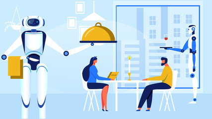 Couple Meeting in Modern Innovational Restaurant with City View in Big Window Cartoon Flat Vector Illustration. Romantic Date with Candle on Table. Robts Serving Meal to Man and Woman.