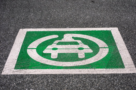 Electric Vehicle Charging Station Parking Lot Symbol in Lasalle Ontario Canada