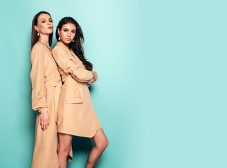 Two young beautiful brunette girls in nice trendy summer clothes.Sexy carefree women posing near blue wall in studio.Fashionable models with bright evening makeup.Female hug each other