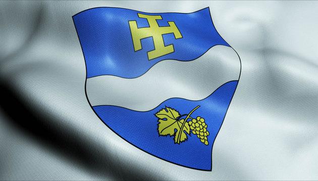 3D Waved France Coat of Arms Flag of Creteil