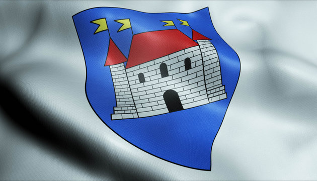 3D Waved France Coat of Arms Flag of Chateauroux