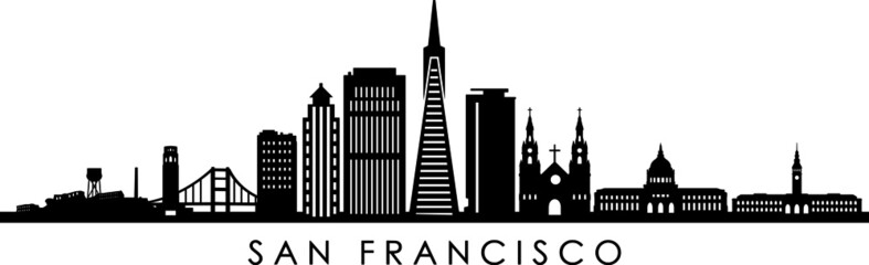 San Francisco Skyline Outline Silhouette Vector