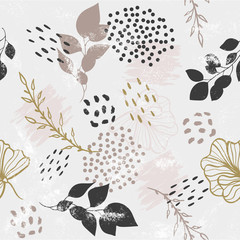 Seamless pattern with plants and gold elements. Vector