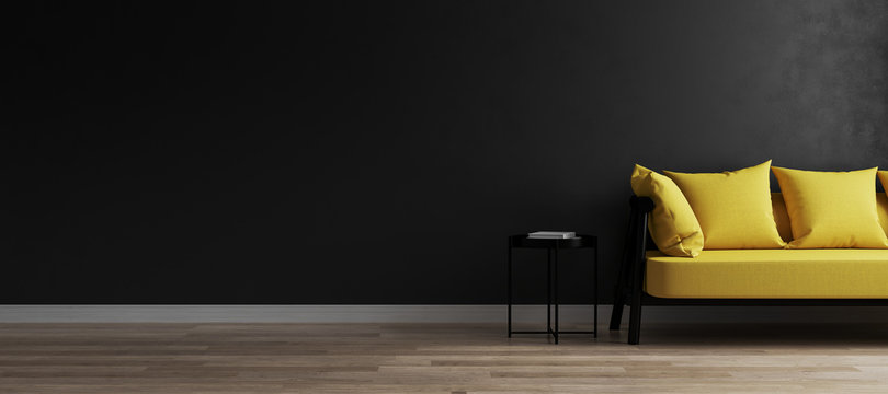 Modern room interior background with black wall and stylish yellow sofa, black empty wall mockup, 3d rendring